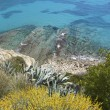 Moraira mediterranean turquoise sea high view - Stock Photo