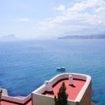 Moraira architecture and mediterranean sea — Stock Photo #5509966