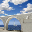 Stock Photo: Mediterranean sea view white archs architecture