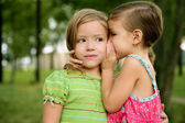 Two twin little sister girls whisper in ear — Stockfoto