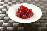 Redcurrant and raspberries — Stock Photo