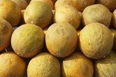 Gele meloen fruit markt gestapelde rijen — Stockfoto