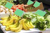 Market banana pepper lettuce turnip beans — Stock Photo