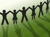 Teamwork silhouette illustration, community — Stock Photo