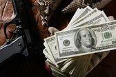 купюры долларов и пистолет, черный пистолет — Foto Stock