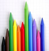Color pencils graphic chart, earnings report — Stockfoto