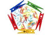 Kleren pin pentagon gloed kleurrijke geïsoleerd — Stockfoto