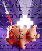 Puzzle with missing piece swine flu AH1N1 — Stock Photo
