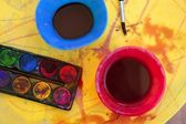 Children messy dirty student watercolor table — Stock Photo