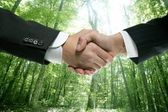 Ecological handshake businessman in a forest — Stock Photo