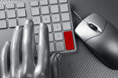 Computer keyboard mouse silver hand futuristic — Stock Photo