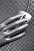 Computer wired mouse silver hand future — Stock Photo