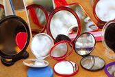 Round colorful mirrors in the shop — Stock Photo