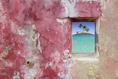 Grunge pink red wall window palm trees island — Stock Photo