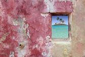 Grunge pink red wall window palm trees island — Stock Photo