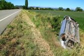 Car crash accident upside down vehicle — Stock Photo