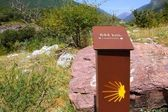Sain James way sign in track Spain Pyrenees — Stock Photo