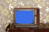 Retro wooden tv on wooden vitage 60s furniture — Stock Photo