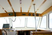Classic fishing boat white and wood interior — Stock Photo