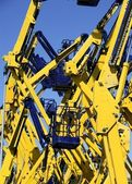 Construction crane vehicles, elevator platform — Stock Photo