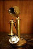 Vintage golden brass spanish old telephone — Stock fotografie