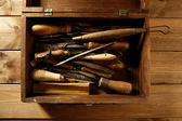 Craftman carpenter hand tools artist — Stock Photo