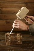 Gouge wood chisel carpenter tool hand hammer — Stock Photo
