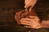 Pottery craftmanship potter hands work clay — Stockfoto