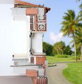 Fassade wand querschnitt real backstein-blöcke — Stockfoto