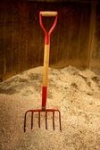 Horse stable witth straw fork tool, sawdust. — Stock Photo