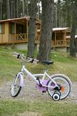 Children pink bicycle in wooden cabin mountain — Stock fotografie
