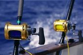 Angler boat big game fishing in saltwater — Stock Photo