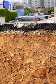 Road excavation earthquake city cross section — Stock Photo