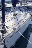 Bow saiboat view white hull teak wood deck — Stock Photo