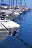 Boats bow in marina Mediterranean sea bow detail — Stock Photo
