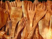 Cutlery olive tree wood spanish traditional kitchenware — Stock Photo