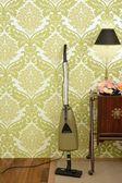 Retro vacuum cleaner vintage sixties wallpaper — Stock Photo