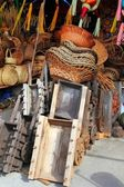 Mexican handcrafts basketry wood carts pinatas — Stock Photo