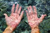 Hands underwater river water wavy distorted — Stock Photo