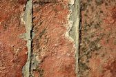 Three red bricks aligned. Old broken red clay tiles — Photo