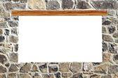 Stone masonry wall window blank copyspace — Stock Photo