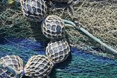 Lead balls fishing trawler net tackle — Stock Photo