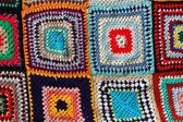 Crochet artisanal motif coloré patchwork — Photo