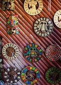 Aztec mayan calendar wooden handcrafts Mexico — Stock Photo
