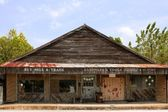 Aged vintage grunge wooden Texas store — Stock Photo
