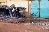 Africa Senegal street scene on humble city — Stock Photo