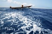 African motorboat in atlantic blue water — Stock Photo