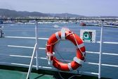 Cruise white boat handrail in blue Ibiza sea — Photo