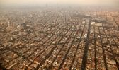 Mexico df city town aerial view from airplane — Stock Photo