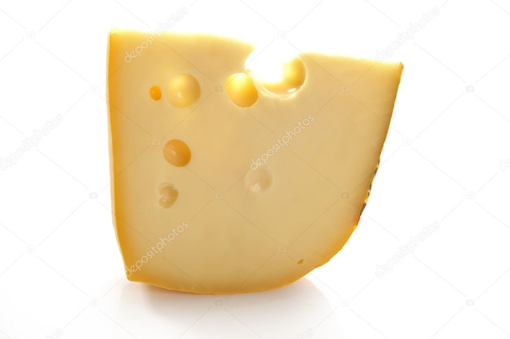 Maasdam swiss cheese slice isolated on white — Stock Photo #5500689